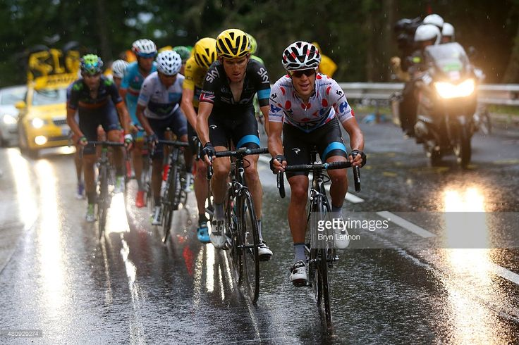 Richie Porte of Australia and Team Sky rides ahead of Geraint Thomas of Great Britain and Team Sky, Chris Froome of Great Britain and Team Sky, Nairo Alexander Quintana Rojas of Colombia and Movistar Team and Alejandro Valverde Belmonte of Spain and Movistar Team during stage twelve of the 2015 Tour de France, a 195 km stage between Lannemezan and Plateau de Beille, on July 16, 2015 in Plateau de Beille, France. #TDF2015 #rm_112