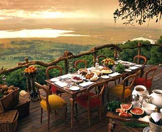 Ngorongoro Crater Lodge, Tanzania- World's Best Restaurant Views, try out authentic Tanzanian food at this incredible restaurant while studying abroad in Tanzania!