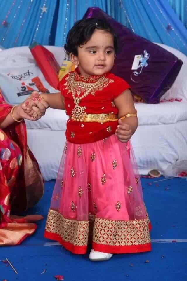 Baby Pink Red Lehenga Indian Dresses Kids Lehenga