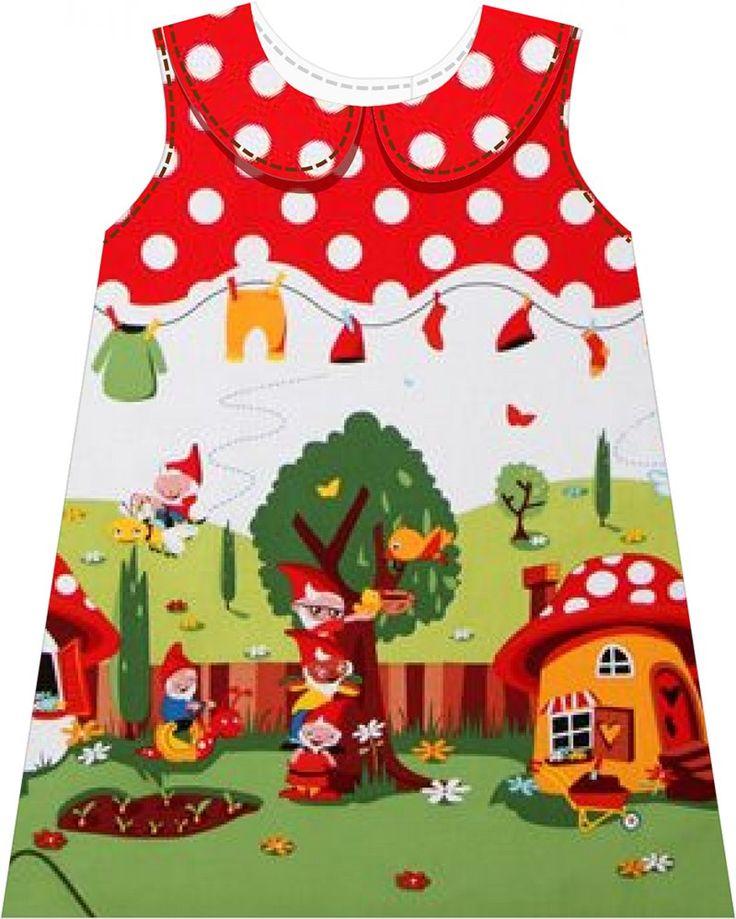 """Tweet Materialien: * Stoff """"Gnomeville"""" – Designer Michael Miller (Breite 112 cm) ( Kleid )  46 cm - ( Größe 68 - 74 )  9..."""