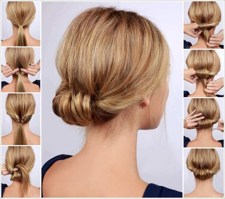Chic Low Rolled Updo Hairstyle long hair updo diy hair hairstyles