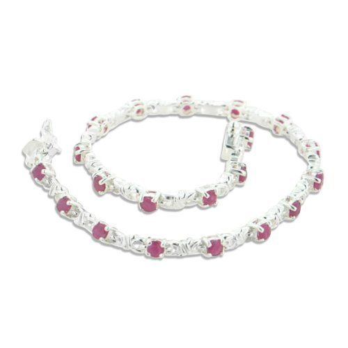"Sterling Silver 3cttw Genuine Ruby Tennis Link Bracelet 7.5"" . $79.97. 20 Pieces of 3mm Round Natural Rubies. Marked 925. 7.5"" in Length and (3mm) 1/8"" Wide. Weight is Approximately 11.1 Grams. Box Clasp w/ Safety Latches"