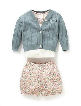 Multi 3 Piece Pure Cotton Floral Collar Top, Cardigan & Bloomer Shorts Outfit
