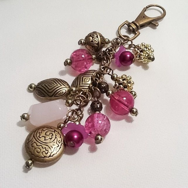 Pink & Antique Gold Bag Charm or Car Accessory Handmade by Cool Creations