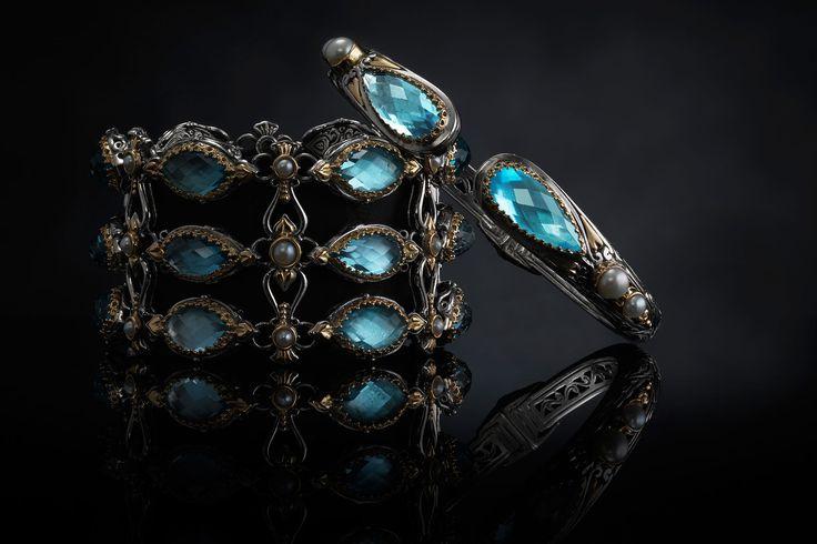 KONSTANTINO | The Amphitrite Woman collection #bracelets #goldBracelets #bangles #goldBangles #gold #silverSterling #konstantino #jewelry #greekJewelry #rockJewelry #jewels #treasure #womensfashion #amphitrite #seablueagate