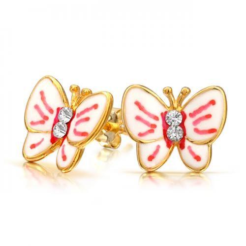 Bling Jewelry Gold Vermeil Enamel Butterfly Stud Earrings CZ 925 Silver