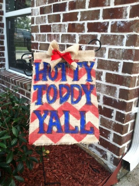 13x20 Burlap Ole Miss Rebels Garden/Yard Flag, Hotty Toddy, Red and blue flag, red bow on Etsy, $15.00