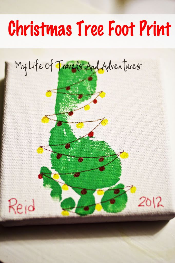 "Craft: Christmas Tree Foot Print--Cool to turn into a Christmas ornament.  Allow kids to decorate the ""tree"" and write name, year, and age on the back using a Sharpie."