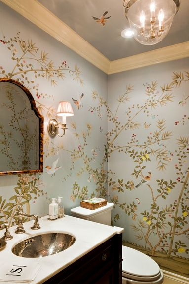 A powder room is the perfect place to indulge a love of exuberant chinoiserie wallpaper.  tdfinteriors.com