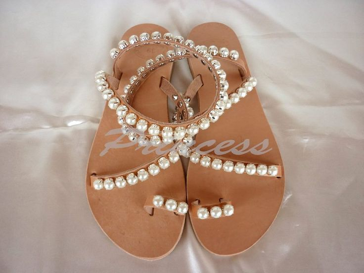 #princess #sandals #ancient #greek #pearls #sparkle #decorated #pink #handmade #bridal Greek sandals decorated with crystals