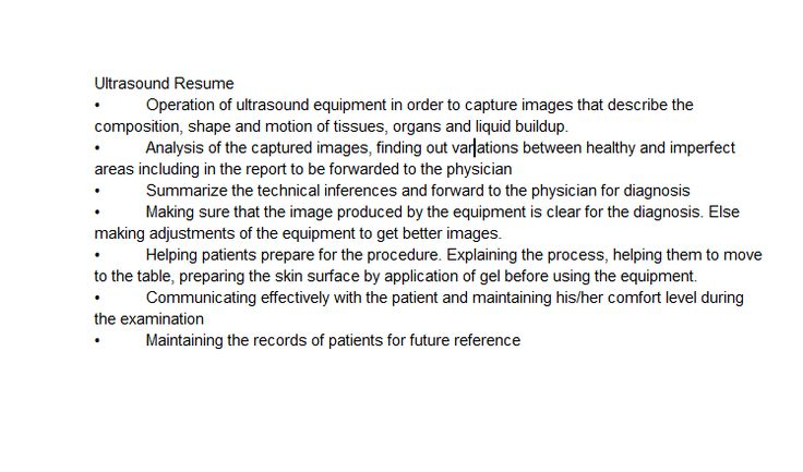 Skills to list on resume for student sonographer The hardest job - Sonographer Resume