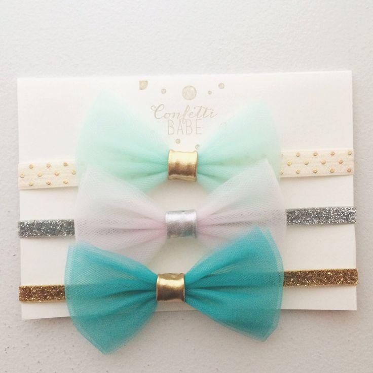 Set of 3 Jasmine Tulle Bow Headbands by ConfettiBabe on Etsy, $22.00