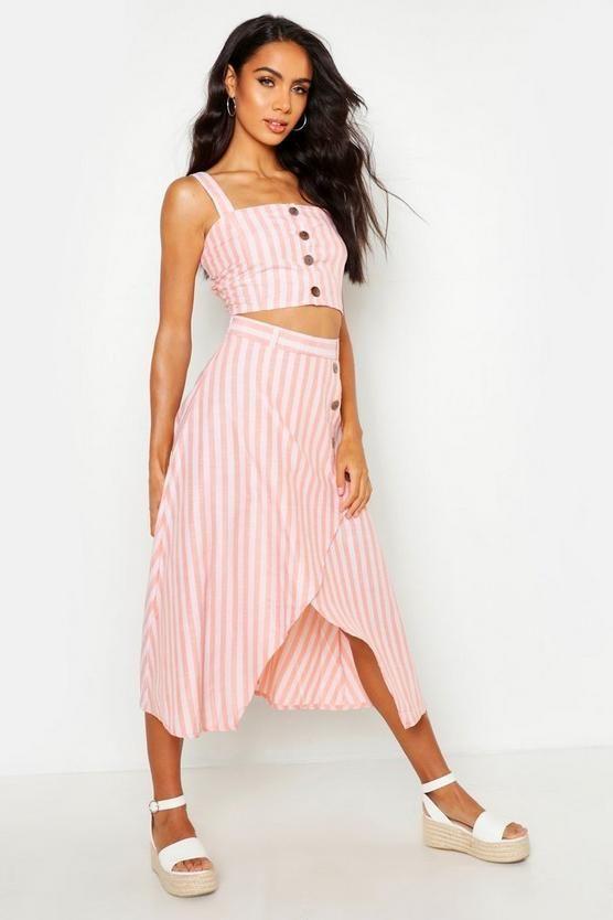 9505a2a50f4d Conjunto de falda con botones y lino a rayas en 2019 | Conjuntos y ...
