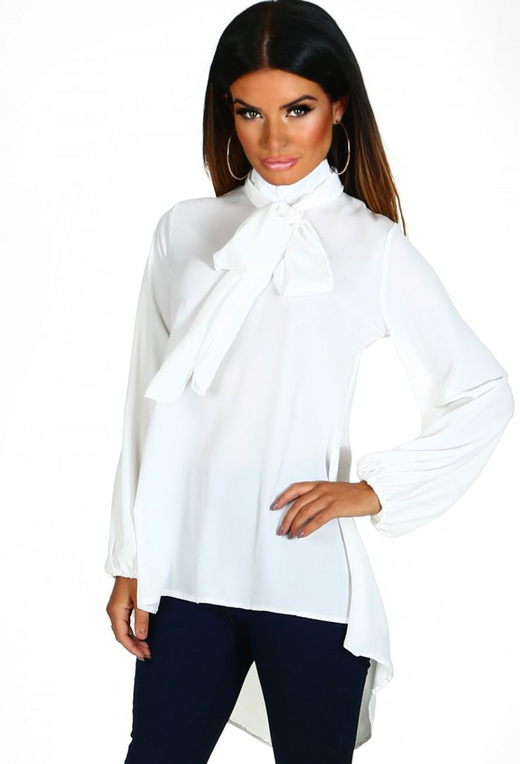 Lonely Together White Chiffon Tie Neck Tunic | Pink Boutique