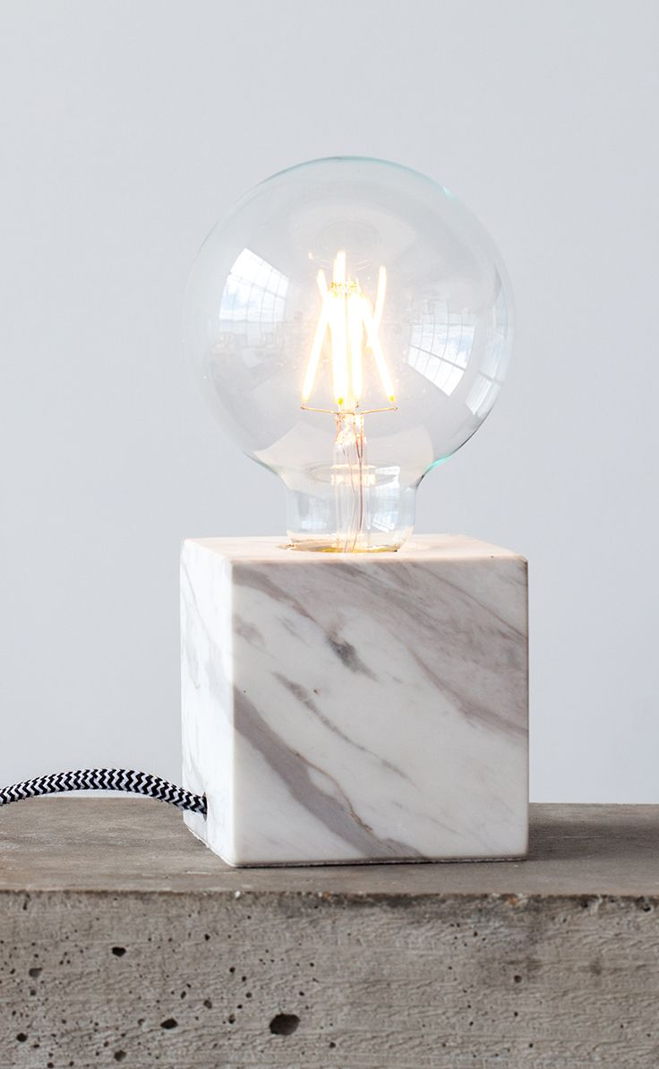 White Table Lamp With Marble Base | Article Flashcube Contemporary Lighting