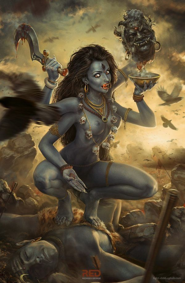 Goddess Kali is the Hindu Goddess associated with death, destruction, time, change, rebirth, regeneration and ultimate liberation. She is black and violent in her manifestations in the sense that she destroys anything that stands in the path of creative and generative change. She destroys the self focused ego and so does she destroy the structures represented by the self focussed ego. Om Krim Kali Art by: Redreev George