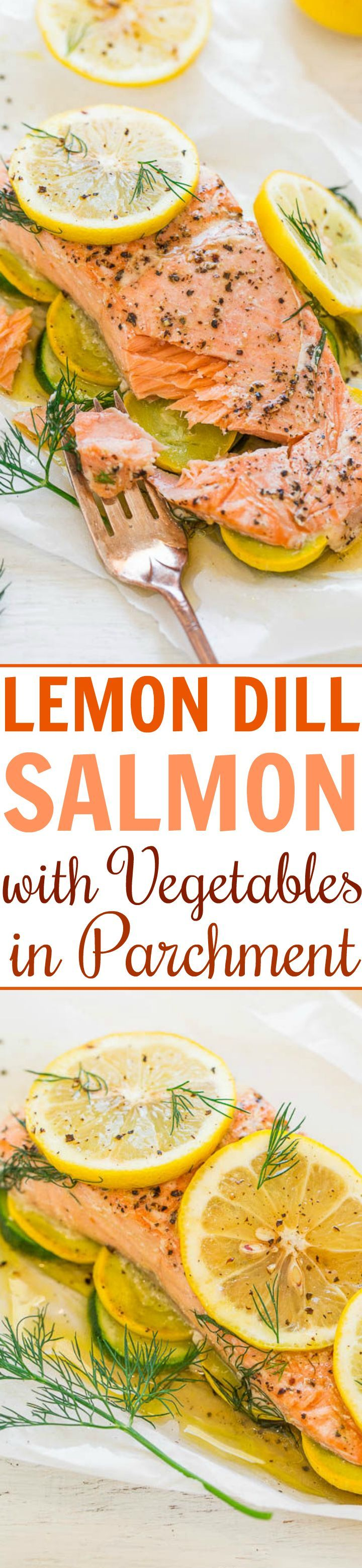 Lemon Dill Salmon with Vegetables in Parchment - Tender salmon with vegetables and it's so EASY, healthy, ready in 20 minutes, and loaded with bold LEMON and dill flavor!! Put it on your dinner rotation!!