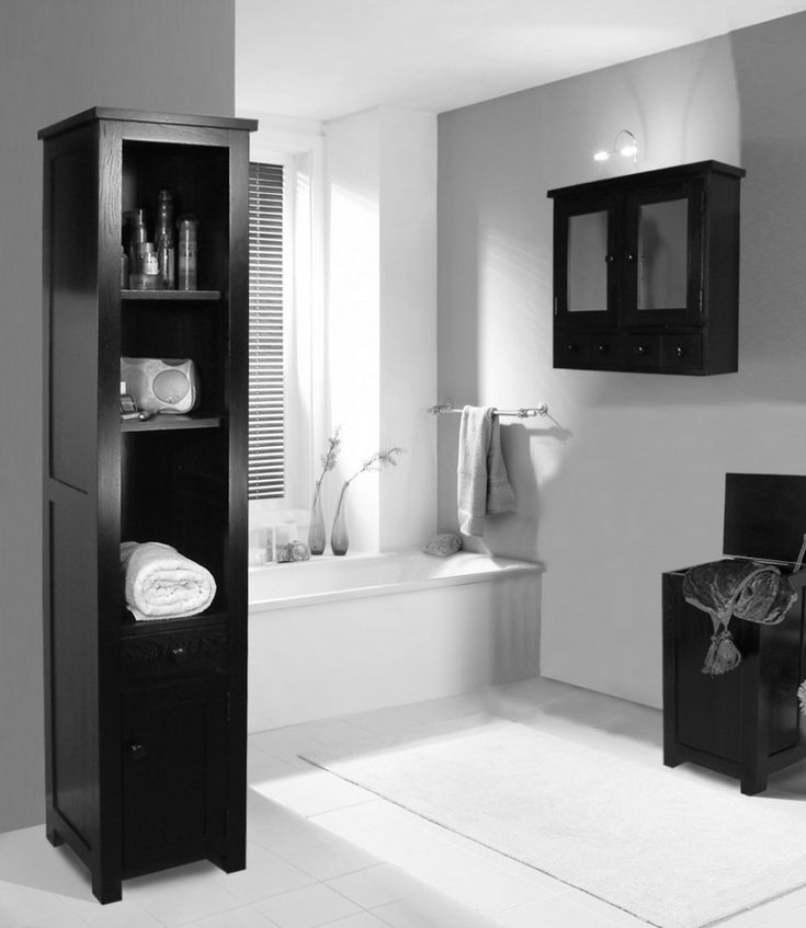 Bathroom Bathroom Black Wooden Shelves On The Floor Black Wooden Bathroom Cabinet On Grey Wall Bathroom Decorating Ideas Black White Make Your Bathroom Look