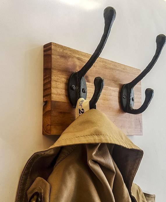 Wall Mounted Coat Rack Wooden Coat Rack Coat Hanger Wall Wood Hook Rack Coat Hook Rack Rustic Rack Entryway Hooks Coat Rack His Hers G Arte Em Madeira Cabideiro
