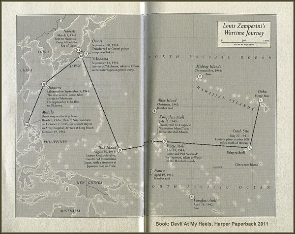 Map Louis Zamperinis Wartime Journey  Military History