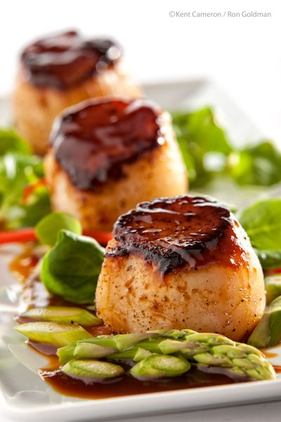 Seared Sea Scallops with Hoisin Glaze. My favorite two ingredients. And the asparagus makes it a WOW factor..NP