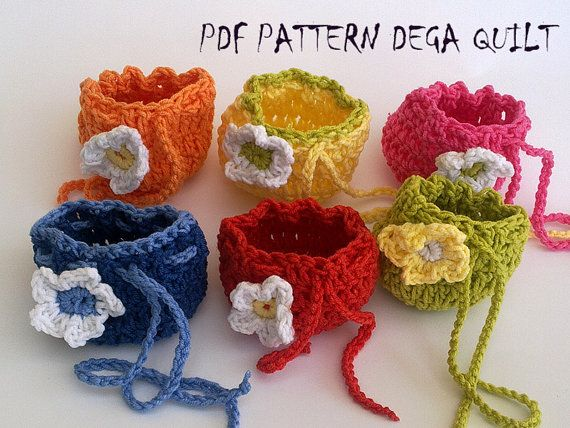 Crochet drawstring tiny gift bags by DegaQuilt on Etsy
