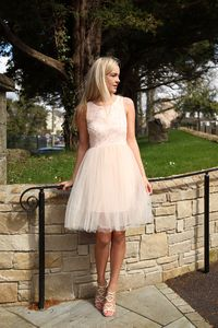 Blush Textured Skater Dress with Tulle Skirt | Buy Tulle Dress Online Ireland | Fashion Dresses Ireland