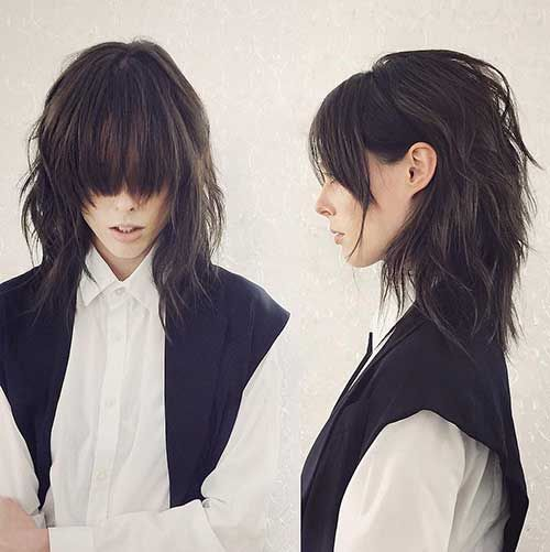 Medium Layered Shaggy Haircuts with Bangs