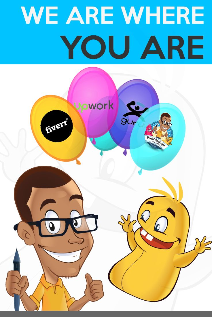 No matter where you are, Fiverr, Upwork, Guru, or other platform. We are where you are!  Come and bring your project of the digital illustration, mascot or caricature! I look forward you for your visit.  Cheers and success,  Daniel Domingos  http://goo.gl/idsghr http://goo.gl/Rjycdu https://goo.gl/BTz973 https://goo.gl/NUdL1U http://goo.gl/L8Moqe