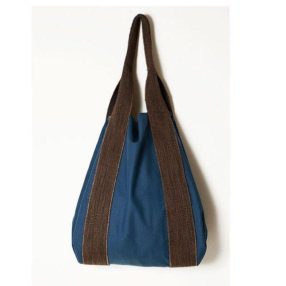Blue brown large bag  Blue canvas bag  Earth by ElenaVandelliBags
