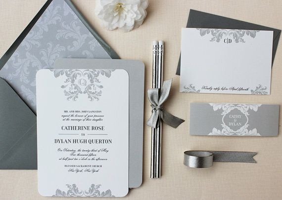 Vintage Wedding Invitation, Elegant, Classic Wedding Invitations, Grey Wedding  Invitation Suite With Belly Band   Feather Classic Sample