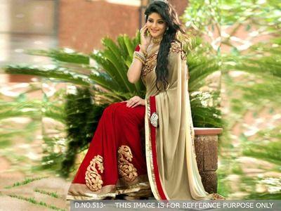 Cream & Red Bollywood Designer Beautiful Sarees Bollywood Sarees Online on Shimply.com