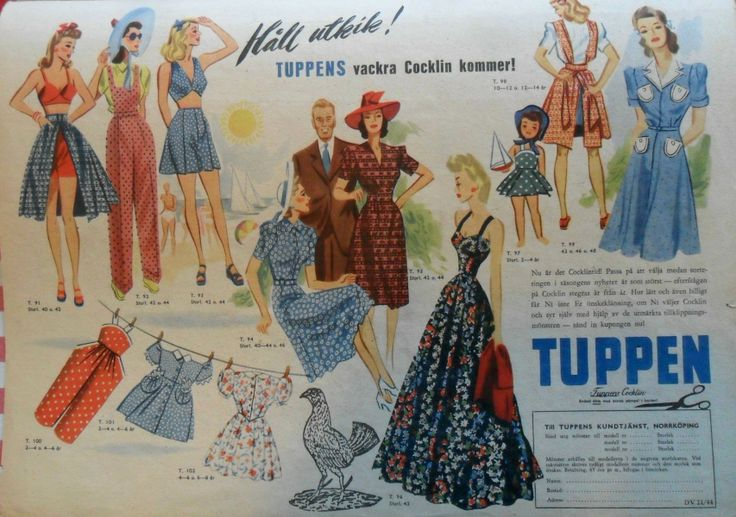 Ad for new fabrics from Tuppen, by Norrköpings bomullsväver, a cotton mill in Norrköping, Sweden. 1944