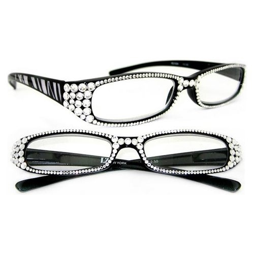 lz new york women fashion swarovski crystal reading glasses rgy004 crystal clear full frame