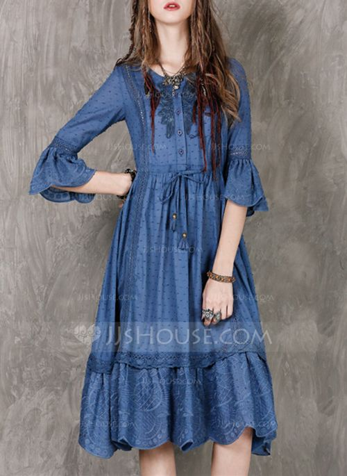 841378eb9 Cotton With Stitching Embroidery Ruffles Knee Length Dress ...