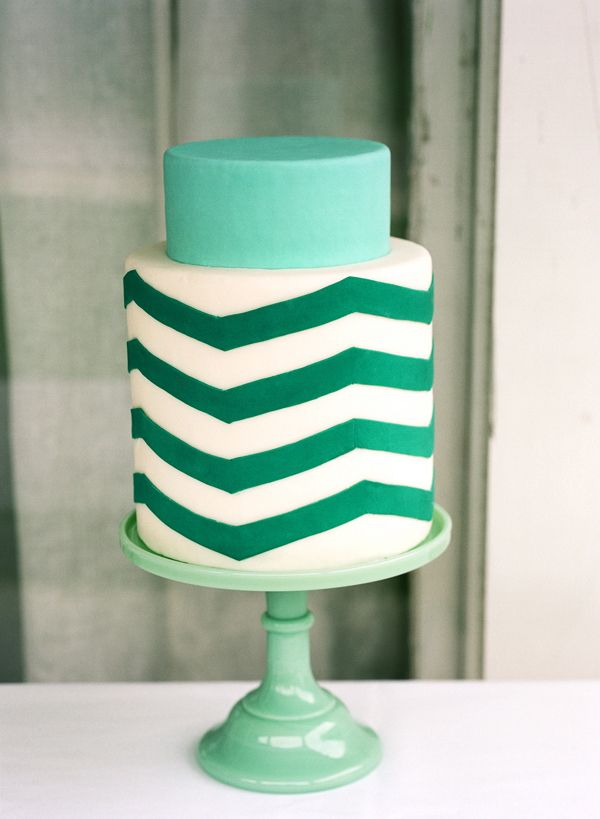 ::gasp:: chevron and green?  This is for my next birthday.  Period. found on Once Wed via Enjoy Events Co. blog #cake #green #wedding