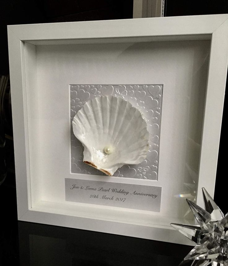 Pearl Wedding Anniversary box Frame. Pearl Anniversary. Shell frame. White frame. Hand made. Personalised Anniversary gift. Wedding present by JustOurStuffStore on Etsy