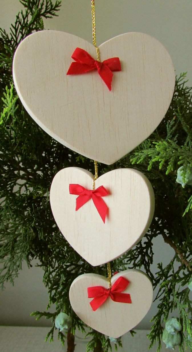 Christmas hearts that I cut from balsa wood.