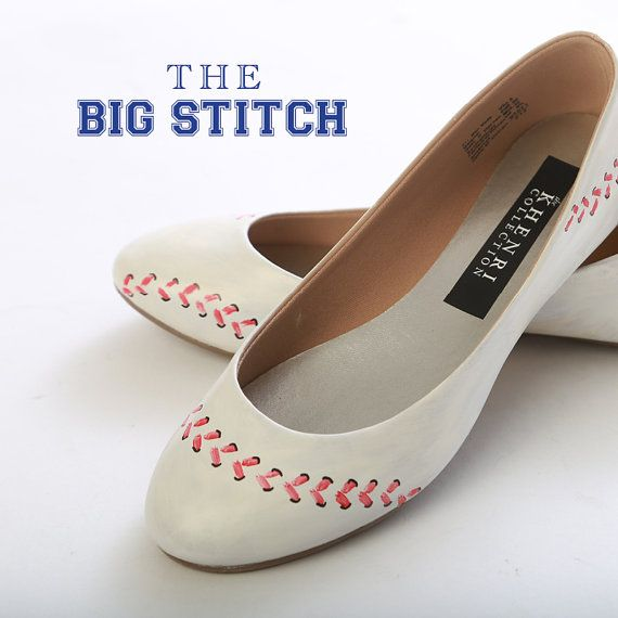 Baseball Wedding/Rehearsal Dinner Shoes. I could make these! <3 #baseball #wedding #etsy