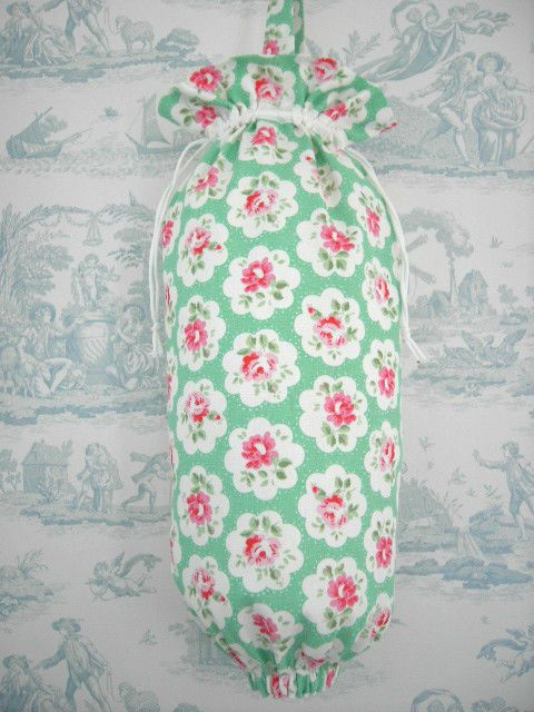carrier bag storage. lrg cath kidston fabric carrier bag holder handmade green provence rose cottond carrier bag storage
