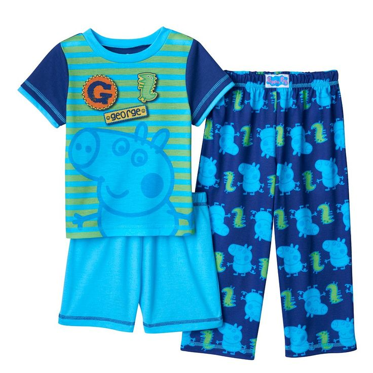 Toddler Boy Peppa Pig George 3-pc. Pajama Set, Size: 2T, Blue