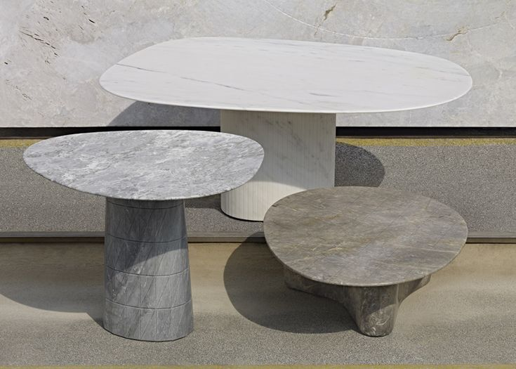 Scholten & Baijings carve geometric patterns into marble tables