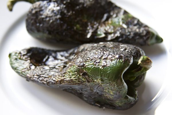 Step-by-step instructions on how to roast poblano peppers using a gas ...