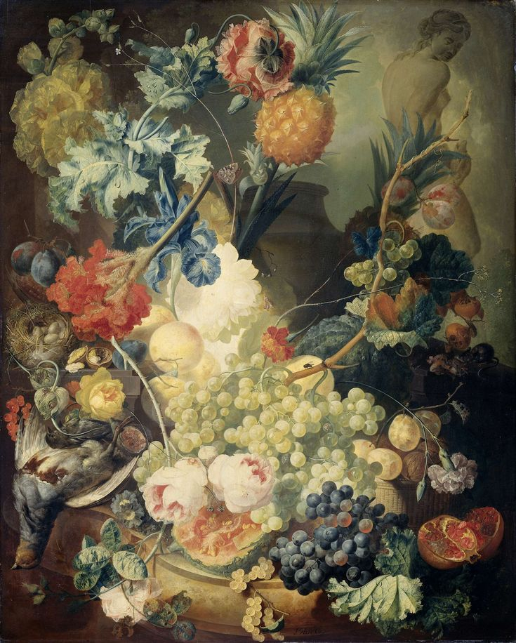 Still Life with Flowers, Fruit and Birds, Jan van Os, 1774