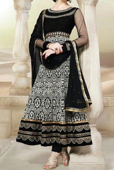 Gold | Black | White | Indian dress