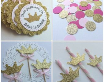 Pink & Gold Princess Party Favors Popcorn by JaclynPetersDesigns