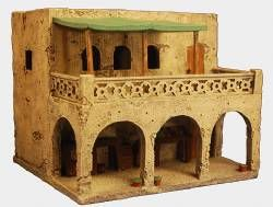 10717 Middle Eastern Merchant House    25mm/28mm Scale: Resin cast for strength and superb detail. Painted as shown. For dioramas and games with 25mm figures. The roof and floors are removable to give access to the building interior.  Comes with sales stalls.