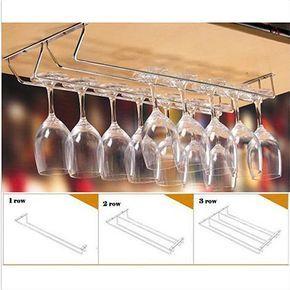 Günstige Edelstahl Wein Glas Rack Küche Esszimmer Bar Goblet Halter Kleiderbügel, Kaufe Qualität Weinregale direkt vom China-Lieferanten: Edelstahl Wein Glas Rack Küche Esszimmer Bar Goblet Halter Kleiderbügel