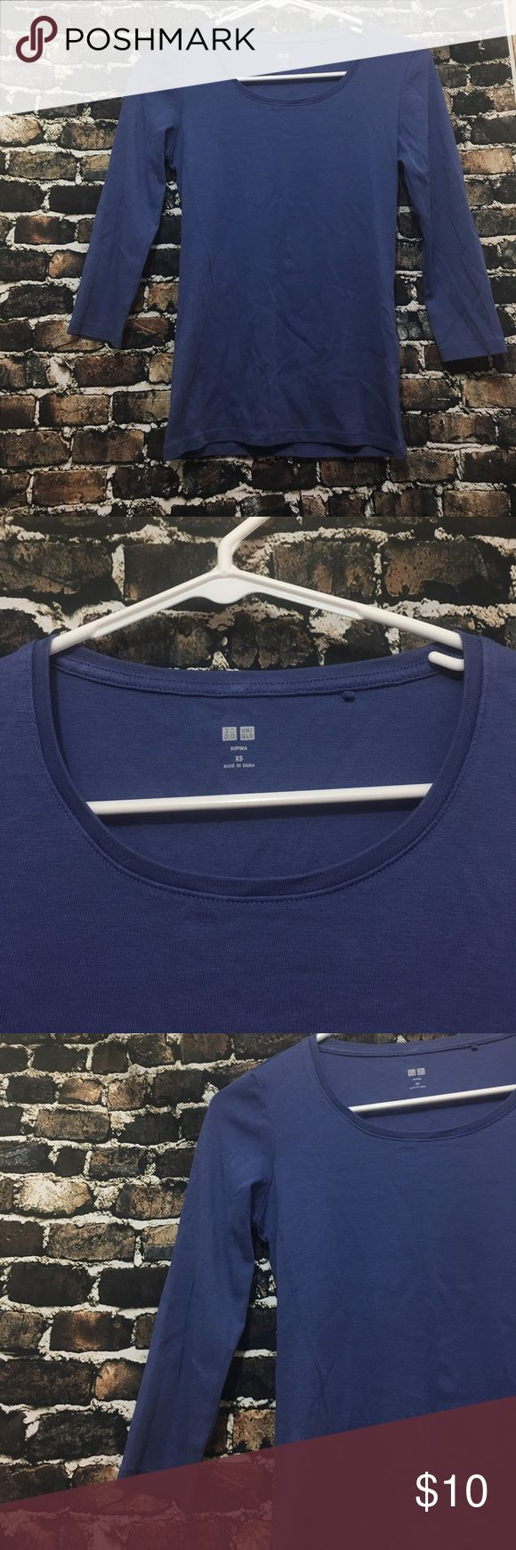 Uniqlo supima size XS top Good condition Uniqlo size XS blue color 3/4sleeve Uniqlo Tops Tees - Long Sleeve