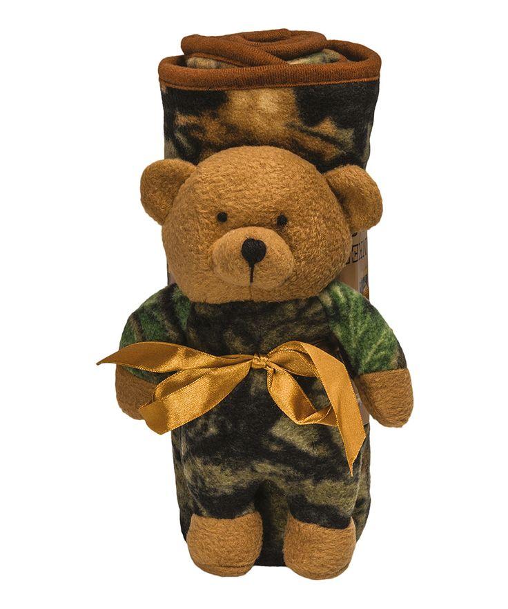 Green Camo Blanket & Plush Bear